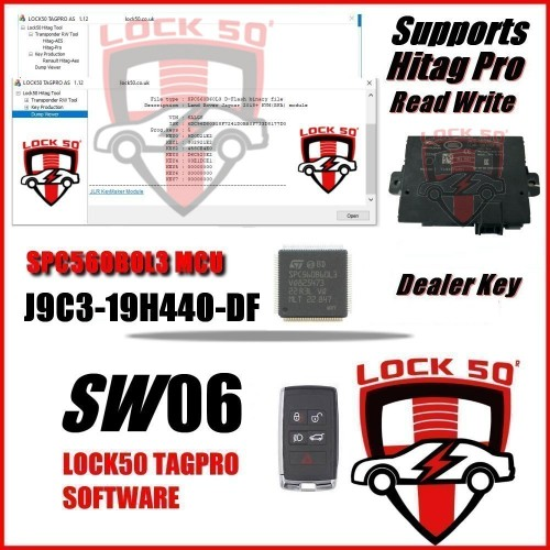 SW 06 - Jaguar Land Rover JPLA-19H440-DE KVM RFA Module- New Type Passive Entry Precoding Dealer Key SPC560B60L3 MCU Dump Tool Key Programmer for Land Rover and Jaguar (2015-2021)  TagPro Key Programmer with SW04is designed to add new keys and program new keys when all keys lost or spare keys for Land Rover and Jaguar KVM keys with Number J9C3-19H440-DF   Firstly you need to use other devicesto read out the C-Flash and D-Flash data in the SPC560B60L3 MCU; Then useTagPro Key Programmerto generate new key and data, finally write back to KVM.